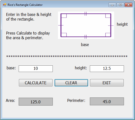3A6 Rectangle Calculator - VisualBasic @GLHS with Mrs Rice